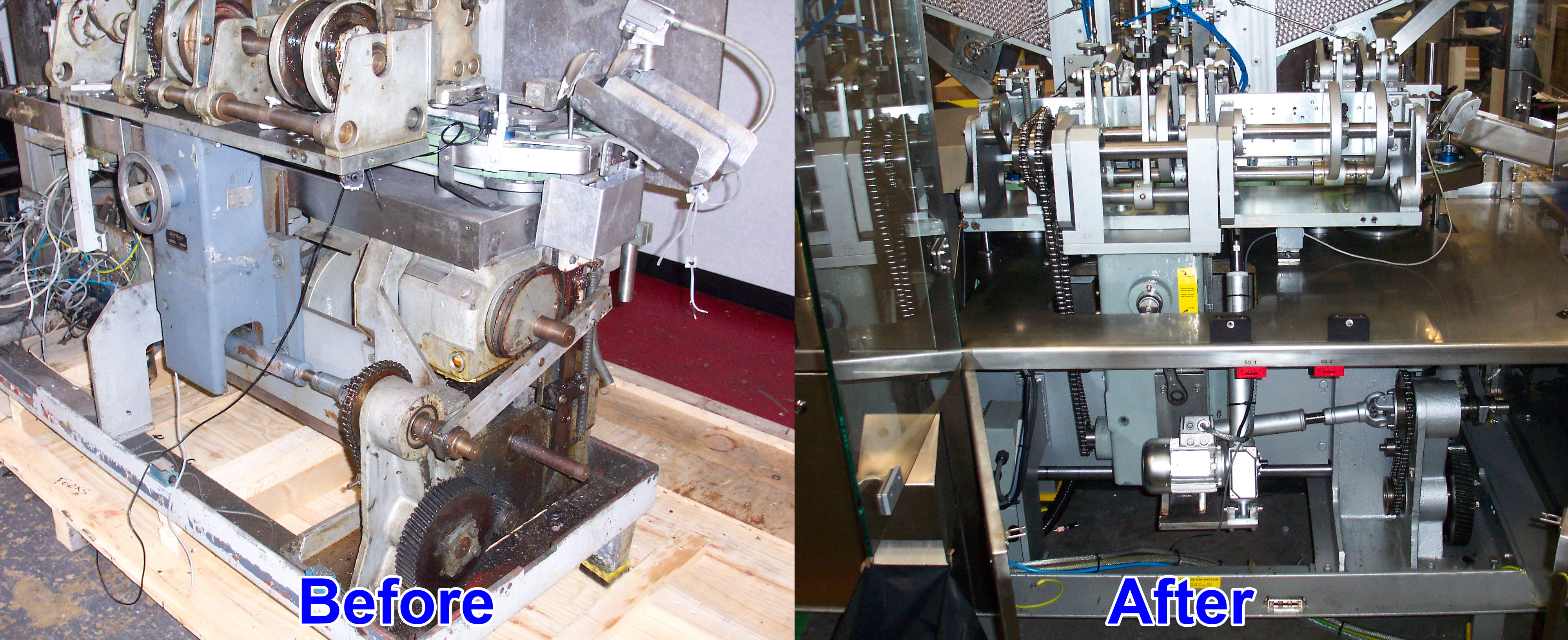 Showing the machine before and after